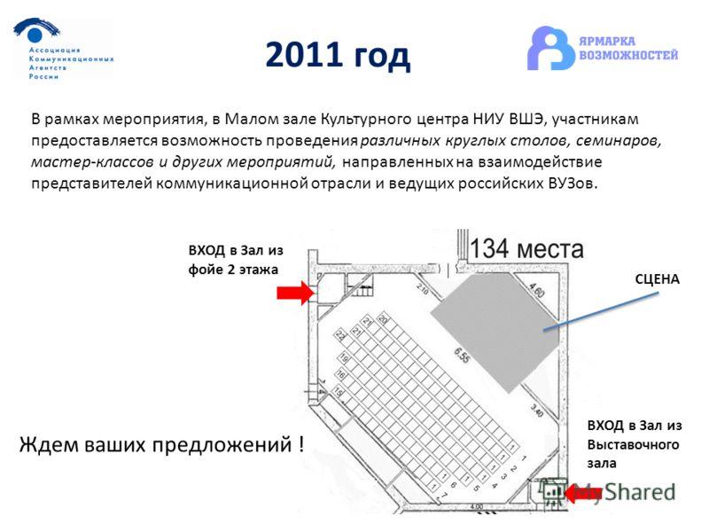 2011 год В рамках мероприятия, в Малом зале Культурного центра НИУ ВШЭ, участникам предоставляется возможность проведения различных круглых столов, семинаров, мастер-классов и других мероприятий, направленных на взаимодействие представителей коммуник
