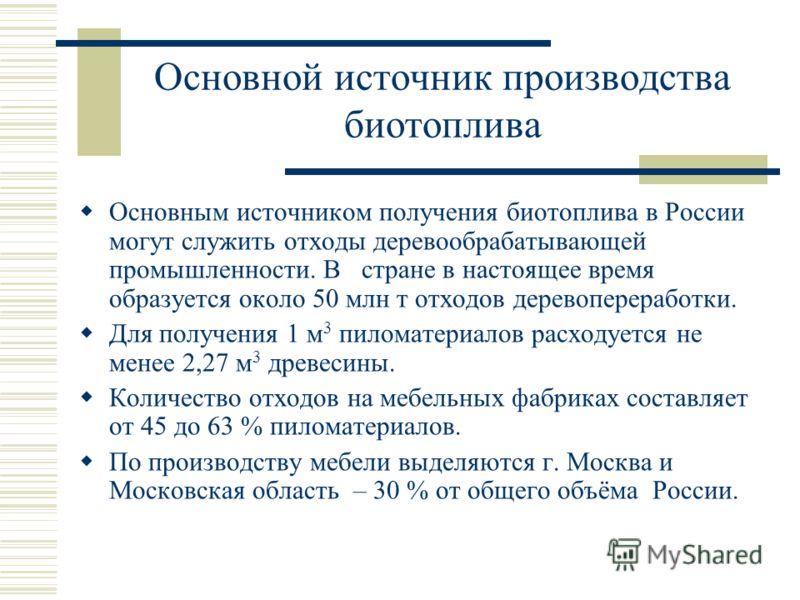 Основной источник производства биотоплива Основным источником получения биотоплива в России могут служить отходы деревообрабатывающей промышленности. В стране в настоящее время образуется около 50 млн т отходов деревопереработки. Для получения 1 м 3