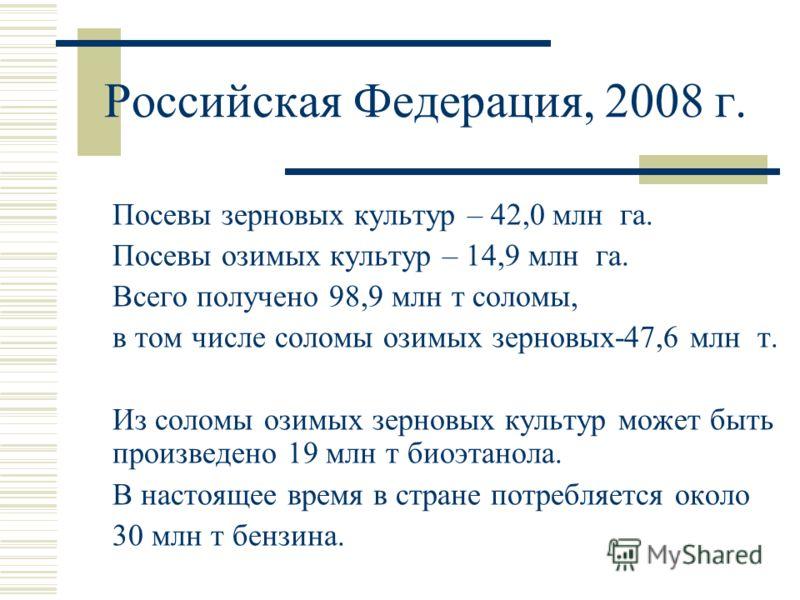 Российская Федерация, 2008 г. Посевы зерновых культур – 42,0 млн га. Посевы озимых культур – 14,9 млн га. Всего получено 98,9 млн т соломы, в том числе соломы озимых зерновых-47,6 млн т. Из соломы озимых зерновых культур может быть произведено 19 млн