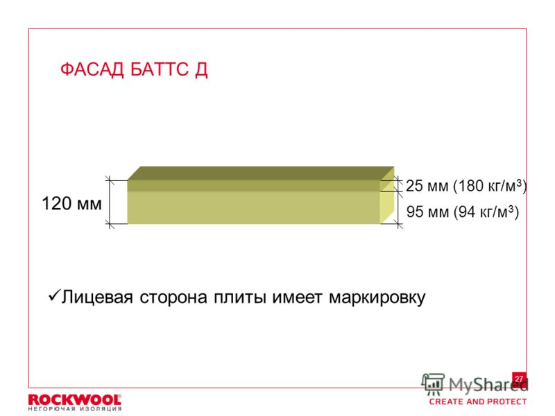 Meeting/Event name – Month date, 2011, Type of event, Country – Arial regular size 8 27 ФАСАД БАТТС Д 120 мм 25 мм (180 кг/м 3 ) 95 мм (94 кг/м 3 ) Лицевая сторона плиты имеет маркировку