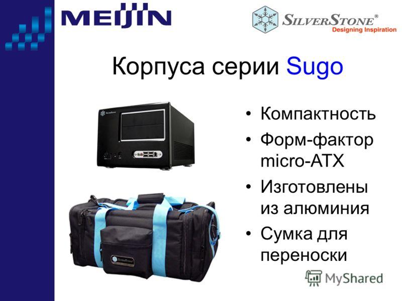 Корпуса серии Sugo Компактность Форм-фактор micro-ATX Изготовлены из алюминия Сумка для переноски