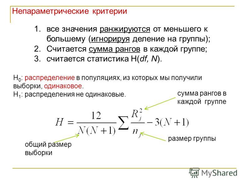 1.все значения ранжируются от меньшего к большему (игнорируя деление на группы); 2.Считается сумма рангов в каждой группе; 3.считается статистика H(df, N). сумма рангов в каждой группе размер группы общий размер выборки Н 0 : распределение в популяци