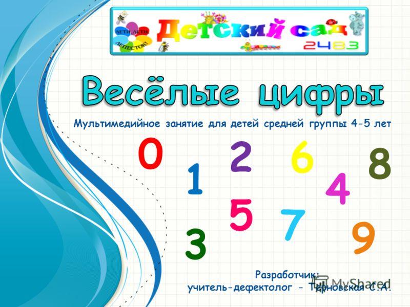 Мультимедийное занятие для детей средней группы 4-5 лет Разработчик: учитель-дефектолог - Терновская С.А. 1 5 0 3 2 7 6 4 9 8