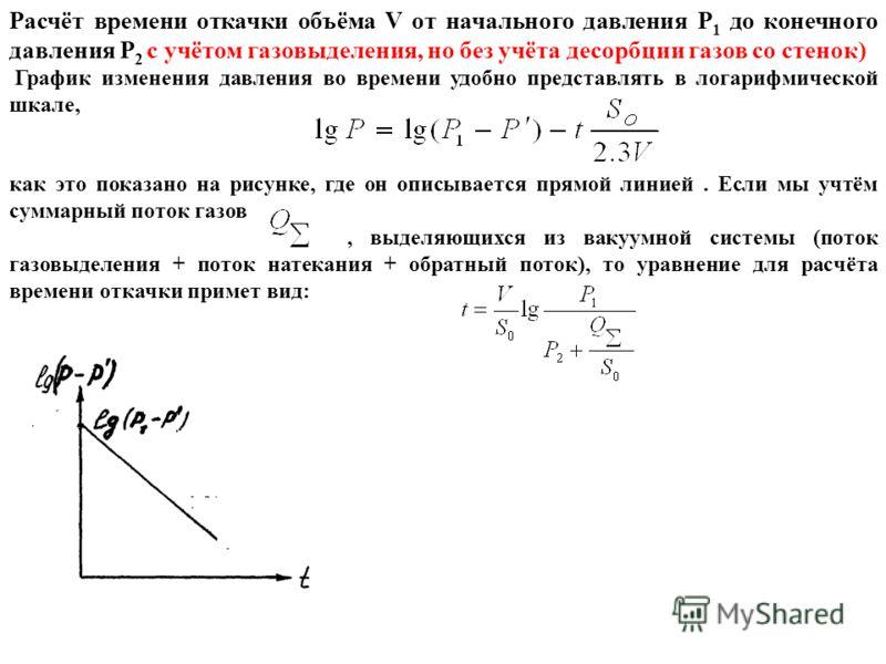 Расчёт времени откачки объёма V от начального давления P 1 до конечного давления Р 2 с учётом газовыделения, но без учёта десорбции газов со стенок) График изменения давления во времени удобно представлять в логарифмической шкале, как это показано на