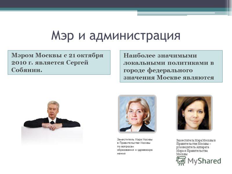 Мэр и администрация Мэром Москвы с 21 октября 2010 г. является Сергей Собянин. Наиболее значимыми локальными политиками в городе федерального значения Москве являются Заместитель Мэра Москвы в Правительстве Москвы по вопросам образования и здравоохра