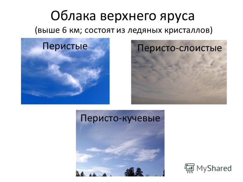 Облака верхнего яруса Перистые Перисто-кучевые Перисто-слоистые (выше 6 км; состоят из ледяных кристаллов)