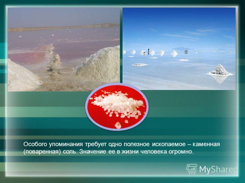 Особого упоминания требует одно полезное ископаемое – каменная (поваренная) соль. Значение ее в жизни человека огромно.