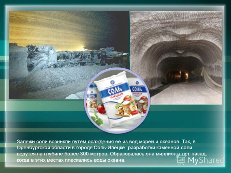 Залежи соли возникли путём осаждения её из вод морей и океанов. Так, в Оренбургской области в городе Соль-Илецке разработки каменной соли ведутся на глубине более 300 метров. Образовалась она миллионы лет назад, когда в этих местах плескались воды ок