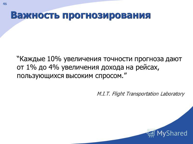 46 Важность прогнозирования Каждые 10% увеличения точности прогноза дают от 1% до 4% увеличения дохода на рейсах, пользующихся высоким спросом. M.I.T. Flight Transportation Laboratory