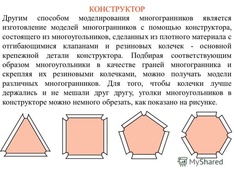 КОНСТРУКТОР Другим способом моделирования многогранников является изготовление моделей многогранников с помощью конструктора, состоящего из многоугольников, сделанных из плотного материала с отгибающимися клапанами и резиновых колечек - основной креп
