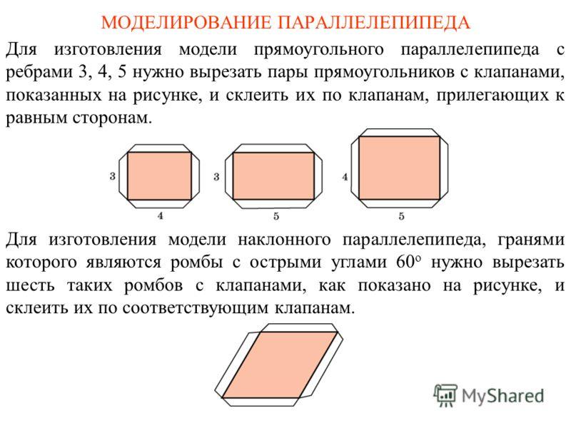 МОДЕЛИРОВАНИЕ ПАРАЛЛЕЛЕПИПЕДА Для изготовления модели прямоугольного параллелепипеда с ребрами 3, 4, 5 нужно вырезать пары прямоугольников с клапанами, показанных на рисунке, и склеить их по клапанам, прилегающих к равным сторонам. Для изготовления м