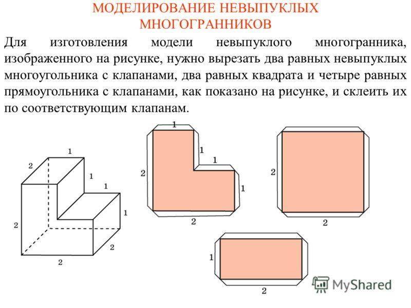 МОДЕЛИРОВАНИЕ НЕВЫПУКЛЫХ МНОГОГРАННИКОВ Для изготовления модели невыпуклого многогранника, изображенного на рисунке, нужно вырезать два равных невыпуклых многоугольника с клапанами, два равных квадрата и четыре равных прямоугольника с клапанами, как