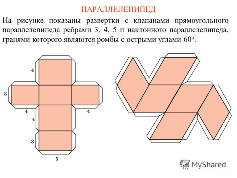 ПАРАЛЛЕЛЕПИПЕД На рисунке показаны развертки с клапанами прямоугольного параллелепипеда ребрами 3, 4, 5 и наклонного параллелепипеда, гранями которого являются ромбы с острыми углами 60 о.
