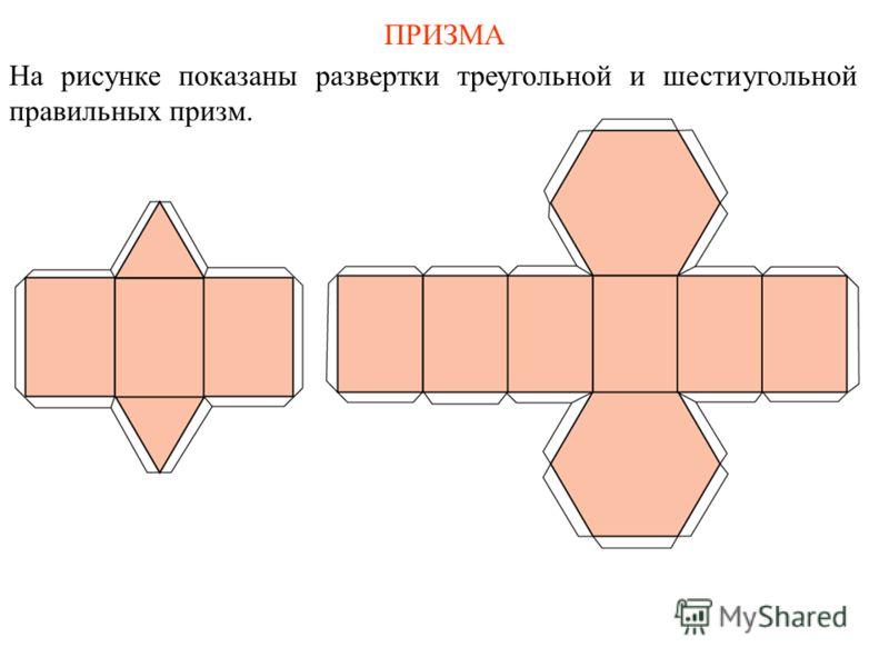 ПРИЗМА На рисунке показаны развертки треугольной и шестиугольной правильных призм.
