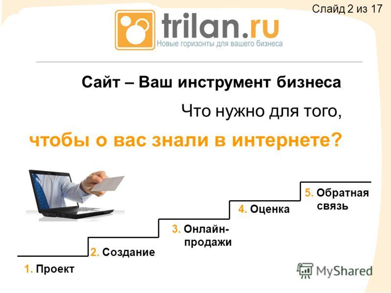 Сайт – Ваш инструмент бизнеса 1. Проект 3. Онлайн- продажи 2. Создание 4. Оценка 5. Обратная связь Что нужно для того, чтобы о вас знали в интернете? Слайд 2 из 17