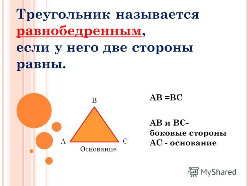 Треугольник называется равнобедренным, если у него две стороны равны. АВ =ВС АВ и ВС- боковые стороны АС - основание А В С Основание