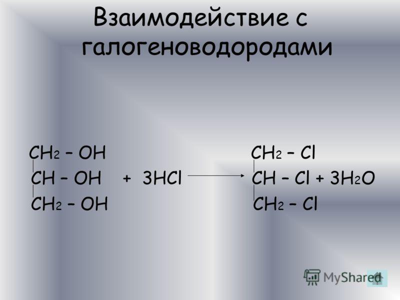 Взаимодействие с металлами CH 2 – OH CH 2 – ONa CH – OH + 6Na CH – ONa + 3H 2 CH 2 – OH CH 2 – ONa