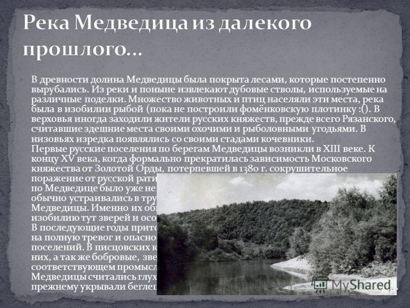 В древности долина Медведицы была покрыта лесами, которые постепенно вырубались. Из реки и поныне извлекают дубовые стволы, используемые на различные поделки. Множество животных и птиц населяли эти места, река была в изобилии рыбой (пока не построили