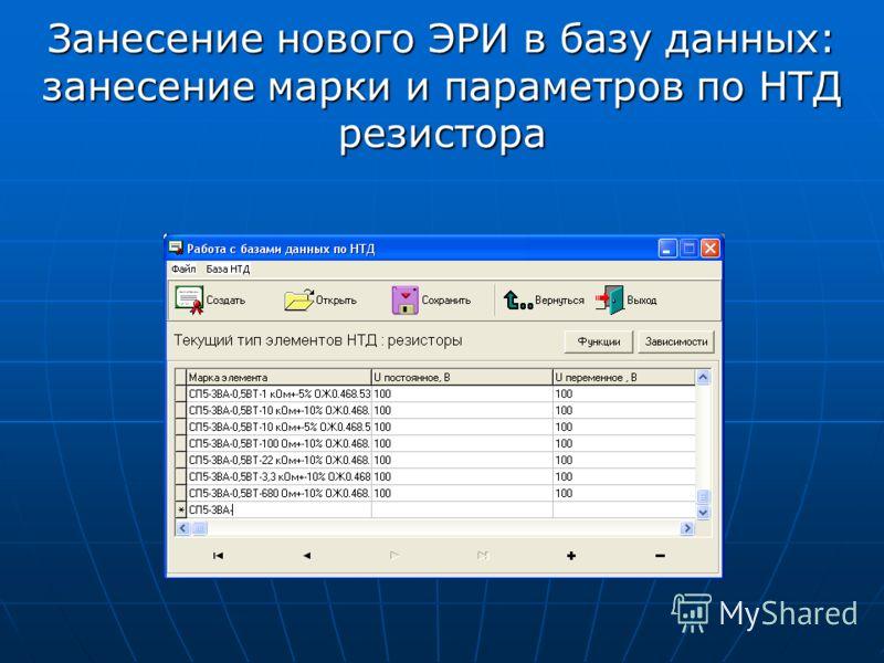 Занесение нового ЭРИ в базу данных: занесение марки и параметров по НТД резистора