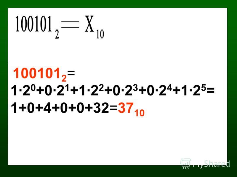 100101 2 = 1·2 0 +0·2 1 +1·2 2 +0·2 3 +0·2 4 +1·2 5 = 1+0+4+0+0+32=37 10