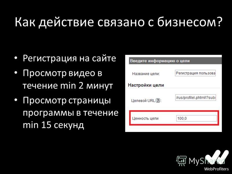 WebProfiters Как действие связано с бизнесом? Регистрация на сайте Просмотр видео в течение min 2 минут Просмотр страницы программы в течение min 15 секунд