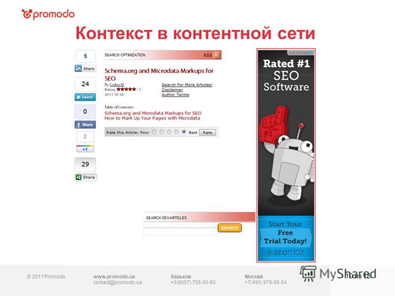 © 2011 Promodowww.promodo.ua contact@promodo.ua Харьков +3(8057) 755-90-60 Москва +7(495) 979-98-54 Контекст в контентной сети 10 из 18