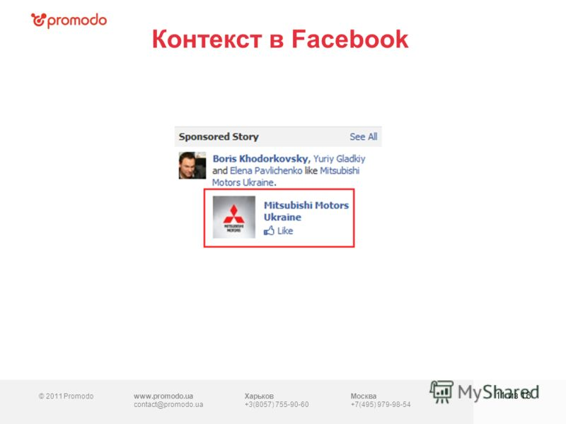 © 2011 Promodowww.promodo.ua contact@promodo.ua Харьков +3(8057) 755-90-60 Москва +7(495) 979-98-54 Контекст в Facebook 11 из 18