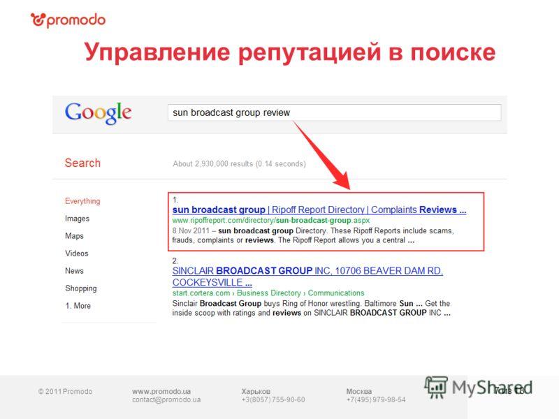 © 2011 Promodowww.promodo.ua contact@promodo.ua Харьков +3(8057) 755-90-60 Москва +7(495) 979-98-54 Управление репутацией в поиске 7 из 18