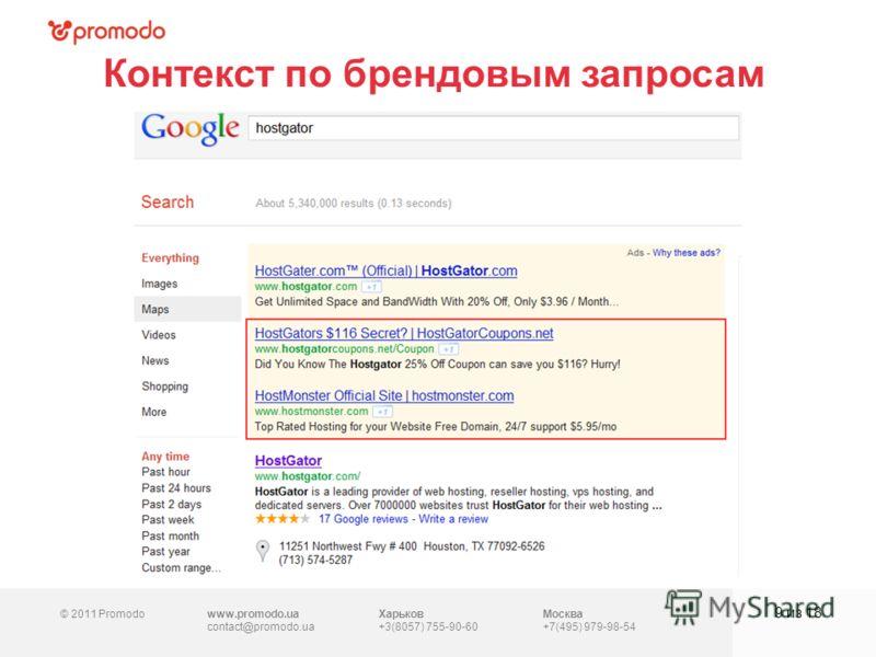 © 2011 Promodowww.promodo.ua contact@promodo.ua Харьков +3(8057) 755-90-60 Москва +7(495) 979-98-54 Контекст по брендовым запросам 9 из 18