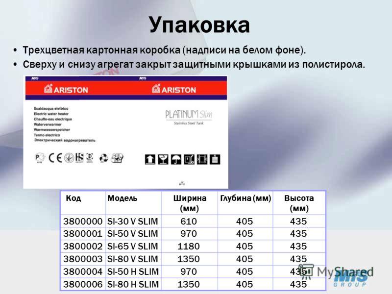 Упаковка Трехцветная картонная коробка (надписи на белом фоне). Сверху и снизу агрегат закрыт защитными крышками из полистирола. КодМодельШирина (мм) Глубина (мм)Высота (мм) 3800000SI-30 V SLIM610405435 3800001SI-50 V SLIM970405435 3800002SI-65 V SLI