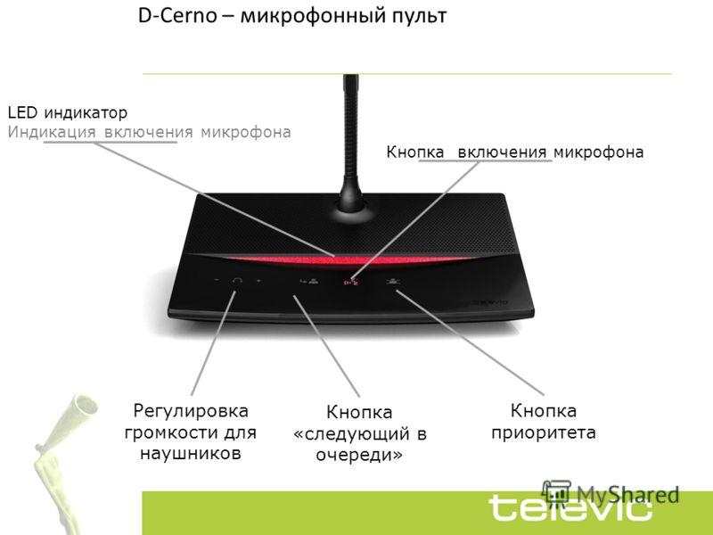 D-Cerno – микрофонный пульт LED индикатор Индикация включения микрофона Кнопка приоритета Кнопка «следующий в очереди» Регулировка громкости для наушников Кнопка включения микрофона