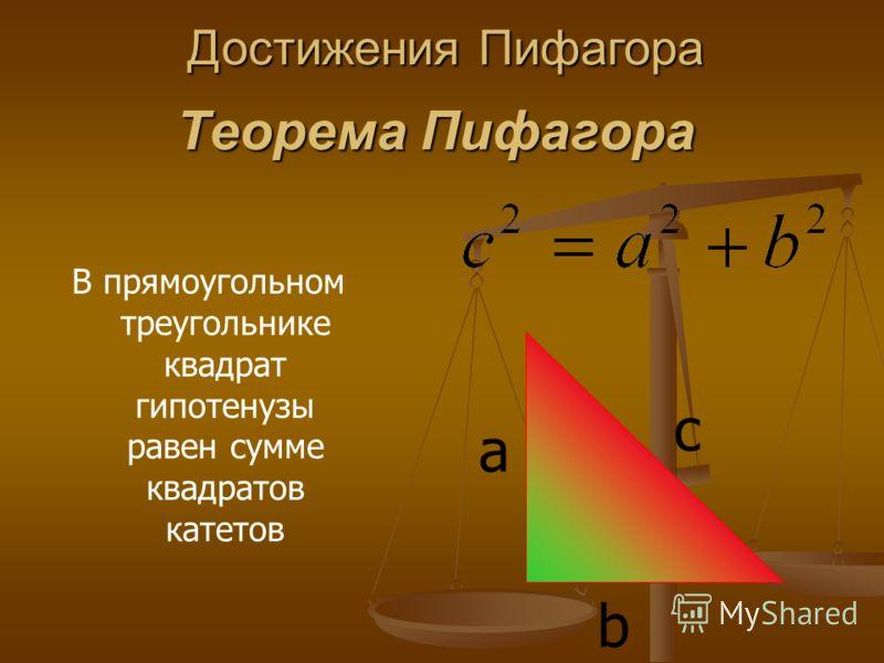 Теорема Пифагора В прямоугольном треугольнике квадрат гипотенузы равен сумме квадратов катетов c a b Достижения Пифагора