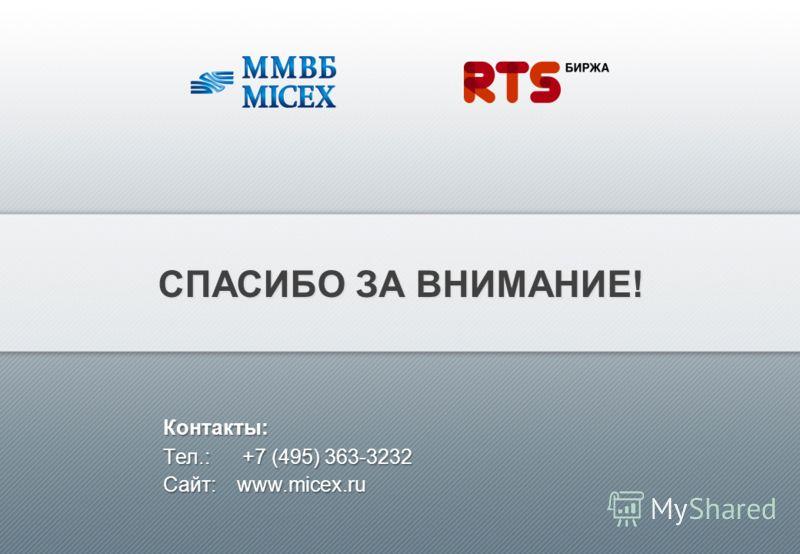 СПАСИБО ЗА ВНИМАНИЕ! Контакты: Tел.:+7 (495) 363-3232 Контакты: Tел.: +7 (495) 363-3232 Сайт: www.micex.ru
