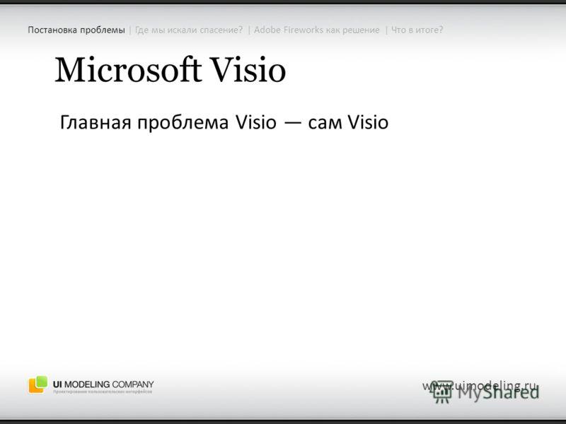 Microsoft Visio Главная проблема Visio сам Visio www.uimodeling.ru Постановка проблемы | Где мы искали спасение? | Adobe Fireworks как решение | Что в итоге?