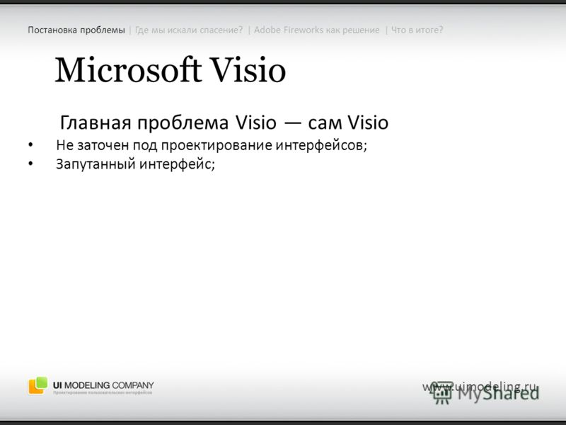 Microsoft Visio Главная проблема Visio сам Visio Не заточен под проектирование интерфейсов; Запутанный интерфейс; www.uimodeling.ru Постановка проблемы | Где мы искали спасение? | Adobe Fireworks как решение | Что в итоге?