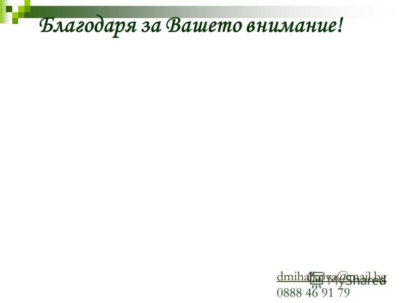 Благодаря за Вашето внимание! dmihalkova@mail.bg 0888 46 91 79