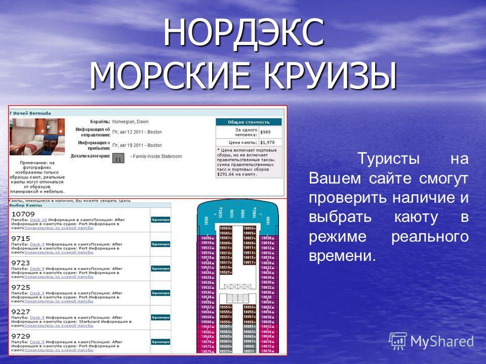 Туристы на Вашем сайте смогут проверить наличие и выбрать каюту в режиме реального времени. НОРДЭКС МОРСКИЕ КРУИЗЫ