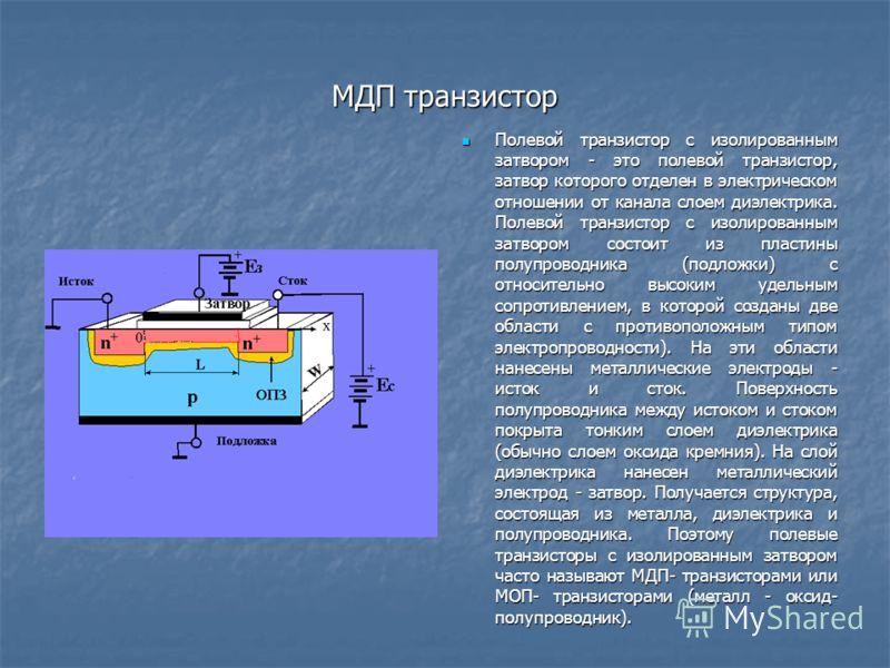 МДП транзистор Полевой транзистор с изолированным затвором - это полевой транзистор, затвор которого отделен в электрическом отношении от канала слоем диэлектрика. Полевой транзистор с изолированным затвором состоит из пластины полупроводника (подлож