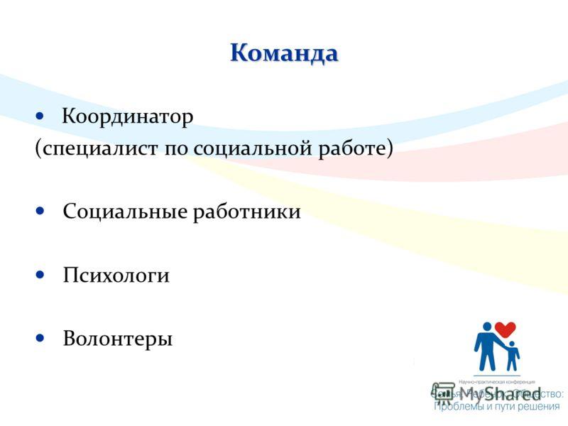 Команда Координатор (специалист по социальной работе) Социальные работники Психологи Волонтеры