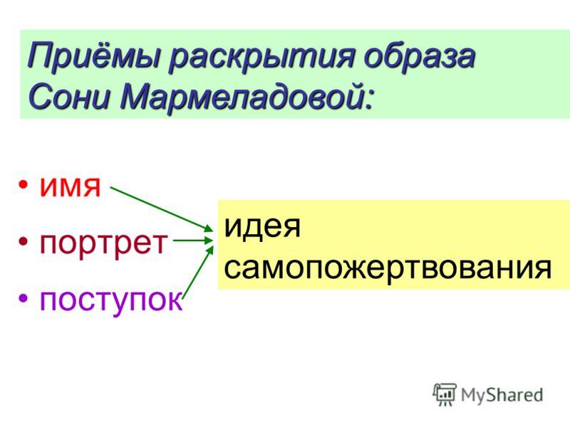 имя портрет поступок Приёмы раскрытия образа Сони Мармеладовой: идея самопожертвования