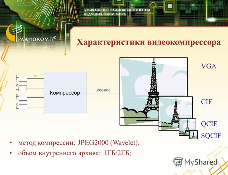 Характеристики видеокомпрессора VGA CIF QCIF SQCIF метод компрессии: JPEG2000 (Wavelet); объем внутреннего архива: 1ГБ/2ГБ;