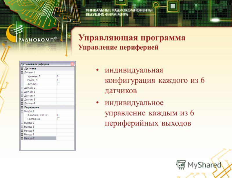 Управляющая программа Управление периферией индивидуальная конфигурация каждого из 6 датчиков индивидуальное управление каждым из 6 периферийных выходов