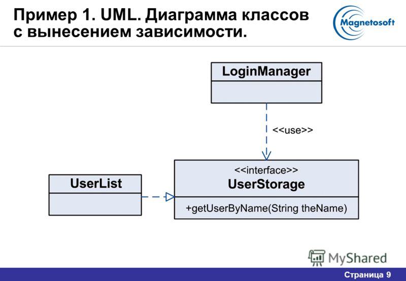 Страница 9 Пример 1. UML. Диаграмма классов с вынесением зависимости.