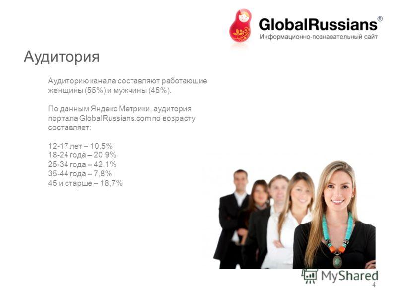 Аудитория Аудиторию канала составляют работающие женщины (55%) и мужчины (45%). По данным Яндекс Метрики, аудитория портала GlobalRussians.com по возрасту составляет: 12-17 лет – 10,5% 18-24 года – 20,9% 25-34 года – 42,1% 35-44 года – 7,8% 45 и стар
