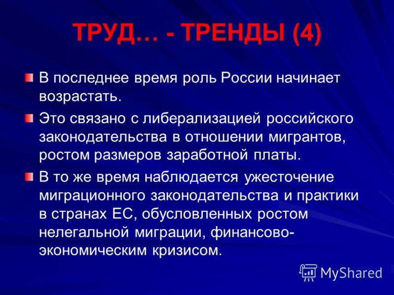ТРУД… - ТРЕНДЫ (4) В последнее время роль России начинает возрастать. Это связано с либерализацией российского законодательства в отношении мигрантов, ростом размеров заработной платы. В то же время наблюдается ужесточение миграционного законодательс