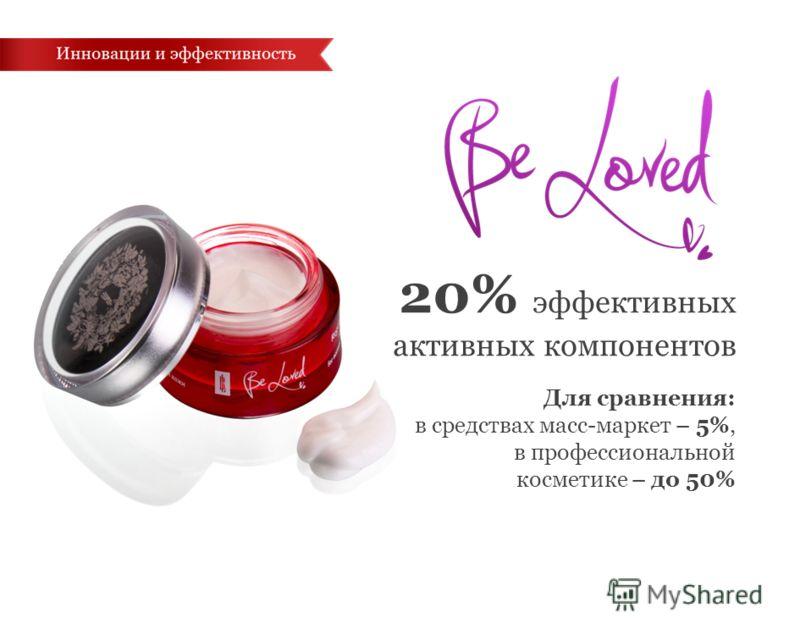 20% эффективных активных компонентов Для сравнения: в средствах масс-маркет – 5%, в профессиональной косметике – до 50%