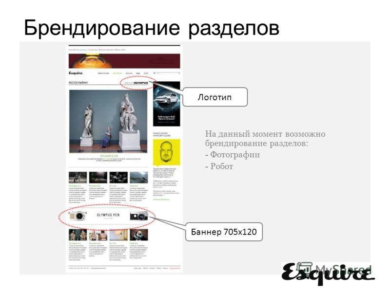 Логотип Баннер 705x120 На данный момент возможно брендирование разделов: - Фотографии - Робот Брендирование разделов