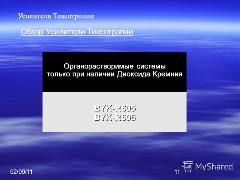 02/09/1111 Усилители Тиксотропии Обзор Усилители Тиксотропии Органорастворимые системы только при наличии Диоксида Кремния BYK-R605BYK-R606