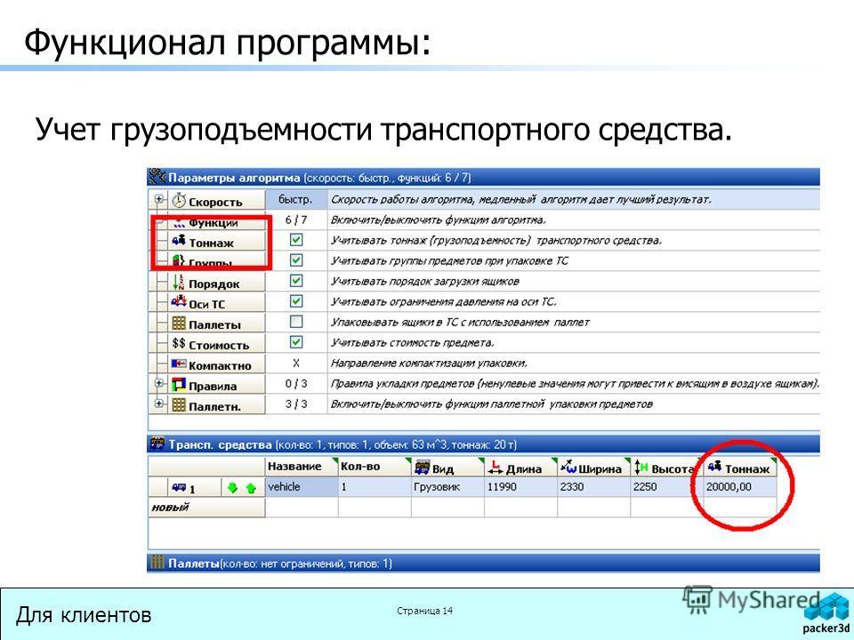 Для клиентов Страница 14 Функционал программы: Учет грузоподъемности транспортного средства.