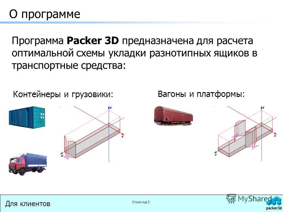 Для клиентов Страница 3 О программе Программа Packer 3D предназначена для расчета оптимальной схемы укладки разнотипных ящиков в транспортные средства: Контейнеры и грузовики: Вагоны и платформы: